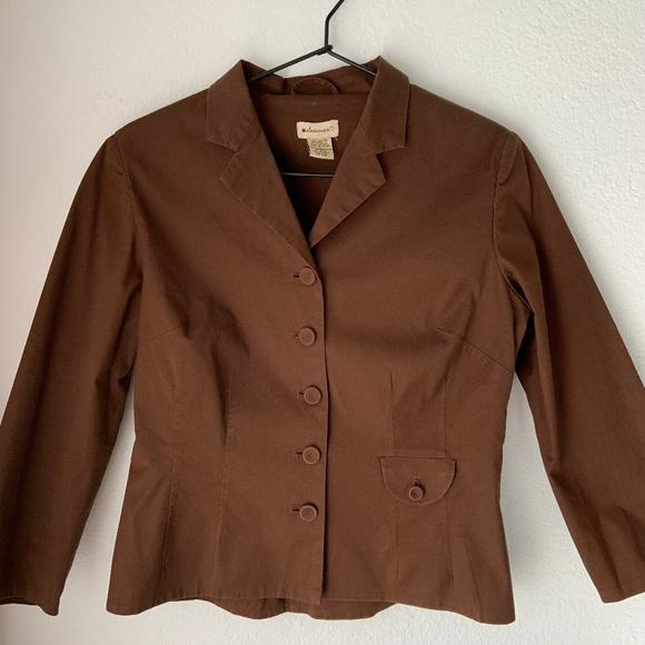Anthropologie Elevenses Jackets & Blazers - Anthropologie Elevenses Brown Fitted Jacket